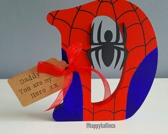 Wooden Letters - Small Capital with Name tag - Superhero - Personalised Wooden Letter - Superhero Wedding - Kids Room