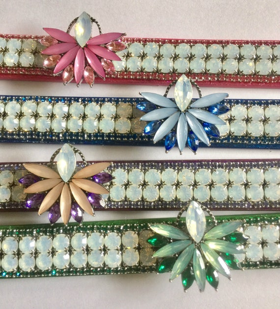 "Cutie Pie Pet Collars TM ~Opal Iridescent Glow~ Red, Green, Purple, or Pink Wide 3/4"" Crystal Rhinestone Pet Dog PU Leather Collar USA"