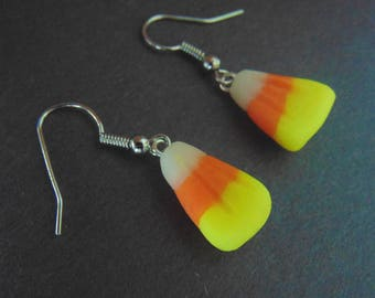 Candy Corn Earrings - Polymer Clay Jewelry - Handmade Candycorn Charms - Cute Halloween Jewelry - Sweet Candy Jewelry - Clay Food Charms