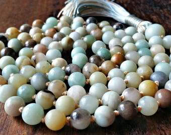 Amazonite 108 Mala Beads, Amazonite Mala Beads, 108 Bead Mala, Mala Necklace, Prayer Beads, Yoga Jewelry, Japa Mala, Beaded Necklace Gift