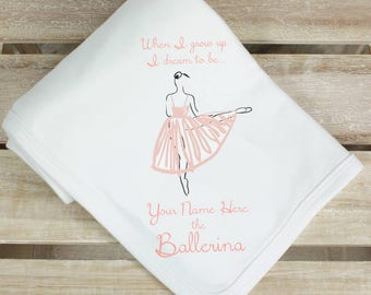 Ballerina personalised baby blanket - baby shawl, ballet dancer, baby shower gift, pink ballerina, new baby, newborn, comfort, nursery shawl
