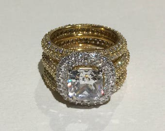 Gold 9ct princess halo ring with cz encrusted bands