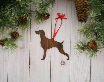 Customizable Weimaraner Dog Christmas Tree Ornament | Personalized Dog Ornament