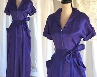 Vintage 1950's Indigo Dressing Gown
