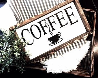 Coffee Wood Sign, Farmhouse Sign, Coffee Bar Sign, Farmhouse Decor, Farm Kitchen Sign, Kitchen Decor, Coffee Sign, Cafe Decor, Rustic sign