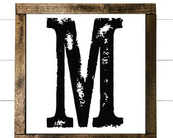 Family name initial sign - farmhouse style sign - magnolia - distressed sign
