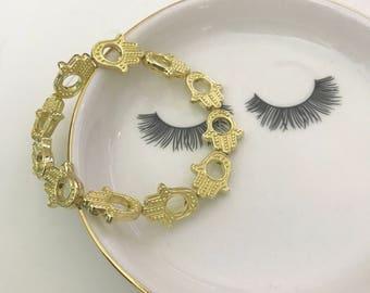 Hamsa 6in Gold Stretch Bracelet