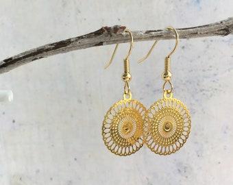 Gold plated boho earrings, filigrain earrings, gift for her