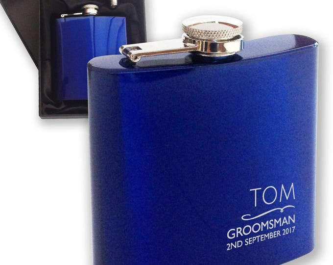 Personalised engraved GROOMSMAN hip flask WEDDING gift idea, blue reflective stainless steel presentation box - NYM3