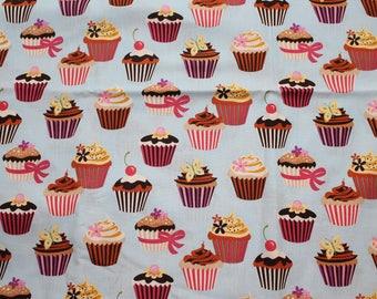 Fabric remnant - powder blue cupcakes - robert kaufman
