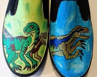 Dinosaurs hand painted shoes