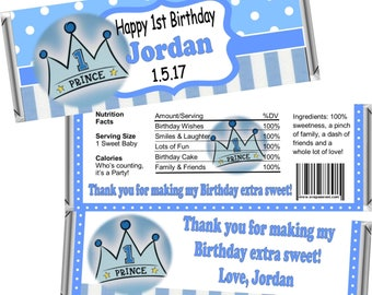 Digital Printable ~ ANY AGE ~ Little Prince ~ Boy's Birthday Candy Bar Wrappers ~ Digital Printable!