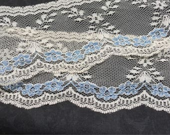 "Beige Lace with Blue flowers trim 2 3/4""wide"