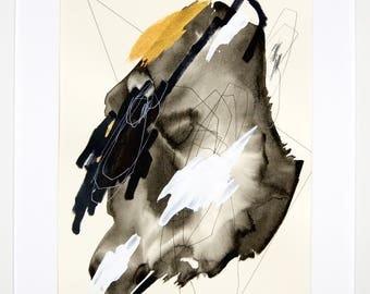Original abstract illustration, no. 0629, mixed media on paper, 35x50cm. 2017