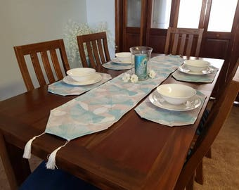 Handmade table runner and matching placemats - Blue