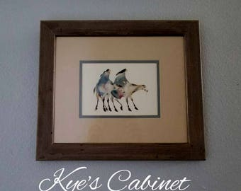 """Cherokee Painter Carol Grigg's Lithograph of """"Under The Star Fields"""" , Framed and Matted Native American Watercolor"""