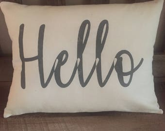 Hello Hand Painted Decorative Throw Pillow-Home Decor-Entryway-Welcome-Housewarming Gift-Family