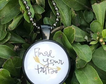 Find Your Tribe Glass Pendant Necklace