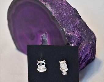 Mismatch Owl Earrings, Owl studs, Hypoallergenic owl jewelry
