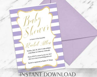 Lilac Striped Baby Shower Invitation Template - INSTANT Download