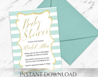 Mint Baby Shower Invitation Template - INSTANT Download