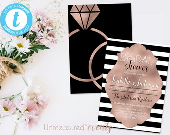 Rose Gold Bridal Shower Invitation   Printable Bridal Shower Invitation   Bridal Shower Invitation   Rose Gold Foil Bridal Shower Invitation