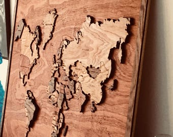 Unique wooden 3d world map 60x80 cm