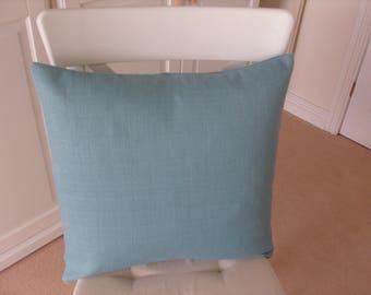 Cushion Cover Aqua Plain Envelope Fastening Approx 17.5 ins Square
