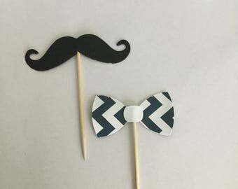 Moustache and navy chevron bow tie cupcake toppers