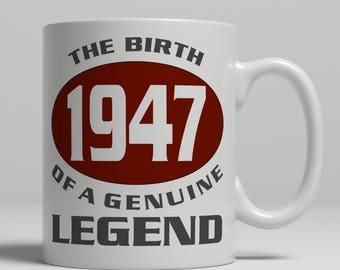 Legend 70th Birthday mug, 70th birthday idea, born 1947 birthday, 70th birthday gift, 70 years old, Happy Birthday, EB 1947 Legend