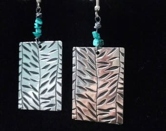 Rectangle silver tone and turquoise dangling earrings
