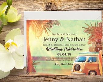Beach Wedding Invitation, Destination Wedding, Tropical Wedding, Printable Wedding, Invitation template, Wedding invitation, DIY wedding