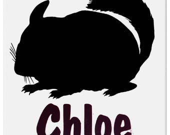Ceramic Chinchilla Cage Name Tag/Plate/Tile, Large