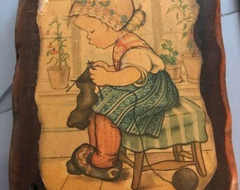 Decoupage - Girl Knitting - Ready to Hang!