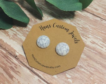 White Marble Earrings | Stud Earrings | Marble Earrings | White Marble | Bridesmaid Gifts