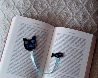 black cat with his fish bookmark
