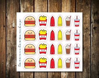 Burger & Fries Stickers // Functional Stickers for Any Planner