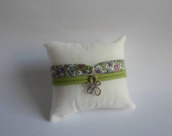 Green suede and liberty fabric bracelet