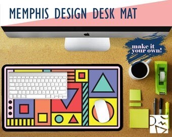 Memphis Design Desk Mat with Available Custom Monogram - 2 Sizes - High Quality Digital Print, Extended Mouse Pad - Desk Accessory