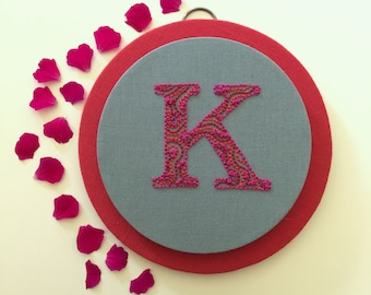 K is for Kicking - Embroidered Letter