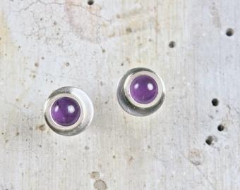 Amethyst Stud Earrings - Ultra Violet -  Handmade Sterling Silver Post Earrings