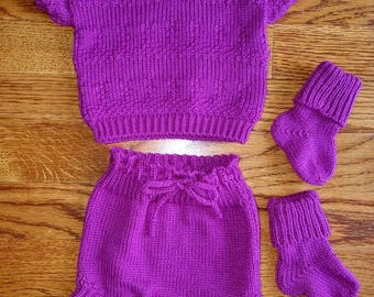 Summer sweater with diaper cover and socks