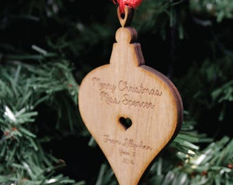Personalised Wooden Bauble Christmas Tree Decoration | Engraved Teacher's Gift