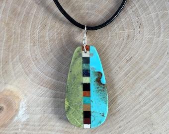 Native American Indian Turquoise Jewelry Santo Domingo Inlay Multi Stone, Turquoise, Large Pendant - Rudy & Mary Coriz