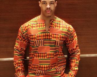 The Long Sleeve Kente Cloth Shirt