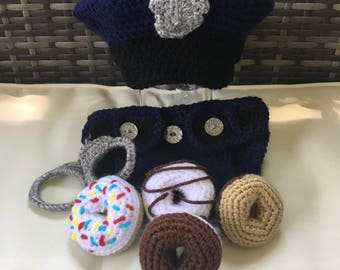 Baby Policeman with Handcuffs and Doughnuts!