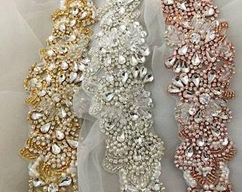 Ultra Luxurious High Quality Custom Bridal Sash/Belt Rose Gold, Gold, Silver