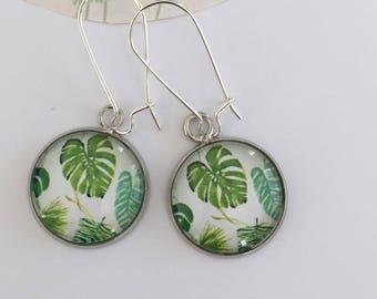 """""""Monstera leaf"""" earrings"""