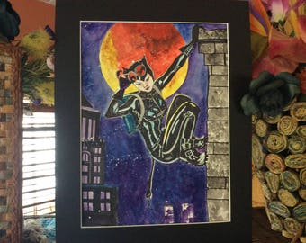 watercolor painting,  Wicked series, Cat woman, 11 x 14 matted FREE SHIPPING in USA