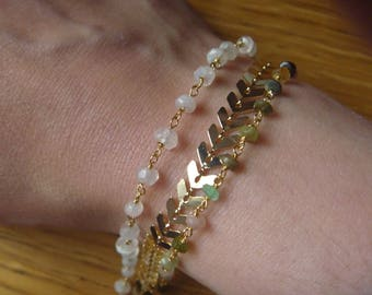 triple chains tourmaline and moonstone Beads Bracelet